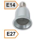 Патрон-переходник Е14-Е27 пластик белый Ecola