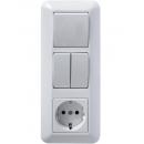 Блок выкл.1кл. + выкл.2кл. + розетка с/з Прима Schneider Electric