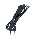 Шнур с вилкой и переключателем 2.0м (ШВВП 2х0,75) черный