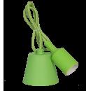 Патрон Е27 силиконовый со шнуром 1 метр зеленый