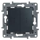 Выключатель/переключатель 2-клав. с подсветкой антрацит Legrand Etika