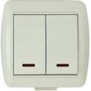Выключатель 2-клавишный с индикацией бежевый Lezard Nata
