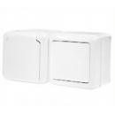 Блок Выключатель 1-клав. + Розетка с крыш. с/з IP44 белый Legrand Quteo