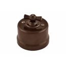 Выключатель 2-клавишный коричневый пластик Bironi