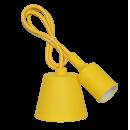 Патрон Е27 силиконовый со шнуром 1 метр желтый