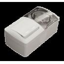 Выключатель 2-клав. с индикацией + Розетка с крыш. с/з IP54 серый EL-BI