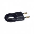 Вилка б/з плоская черная с кольцом 10А TDM Electric