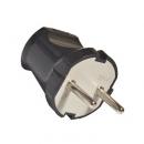 Вилка б/з прямая черная 6А TDM Electric