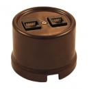 Розетка компьютер+телефон RJ45+RJ11 коричневый пластик Bironi