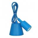 Патрон Е27 силиконовый со шнуром 1 метр синий
