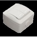 Выключатель 2-клавишный с индикацией IP54 серый EL-BI