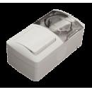 Выключатель 2-клавишный + Розетка с крышкой с/з IP54 серый EL-BI