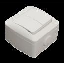 Выключатель 2-клавишный IP54 серый EL-BI